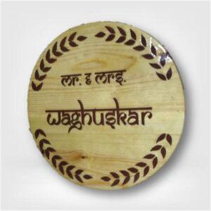 Pine Wood Circular Nameplate